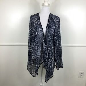 Lane Bryant Blue White Floral Sheer Kimono 18/20